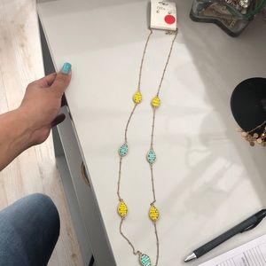 Jewelry - Gold/bead necklace with rhine stone studs
